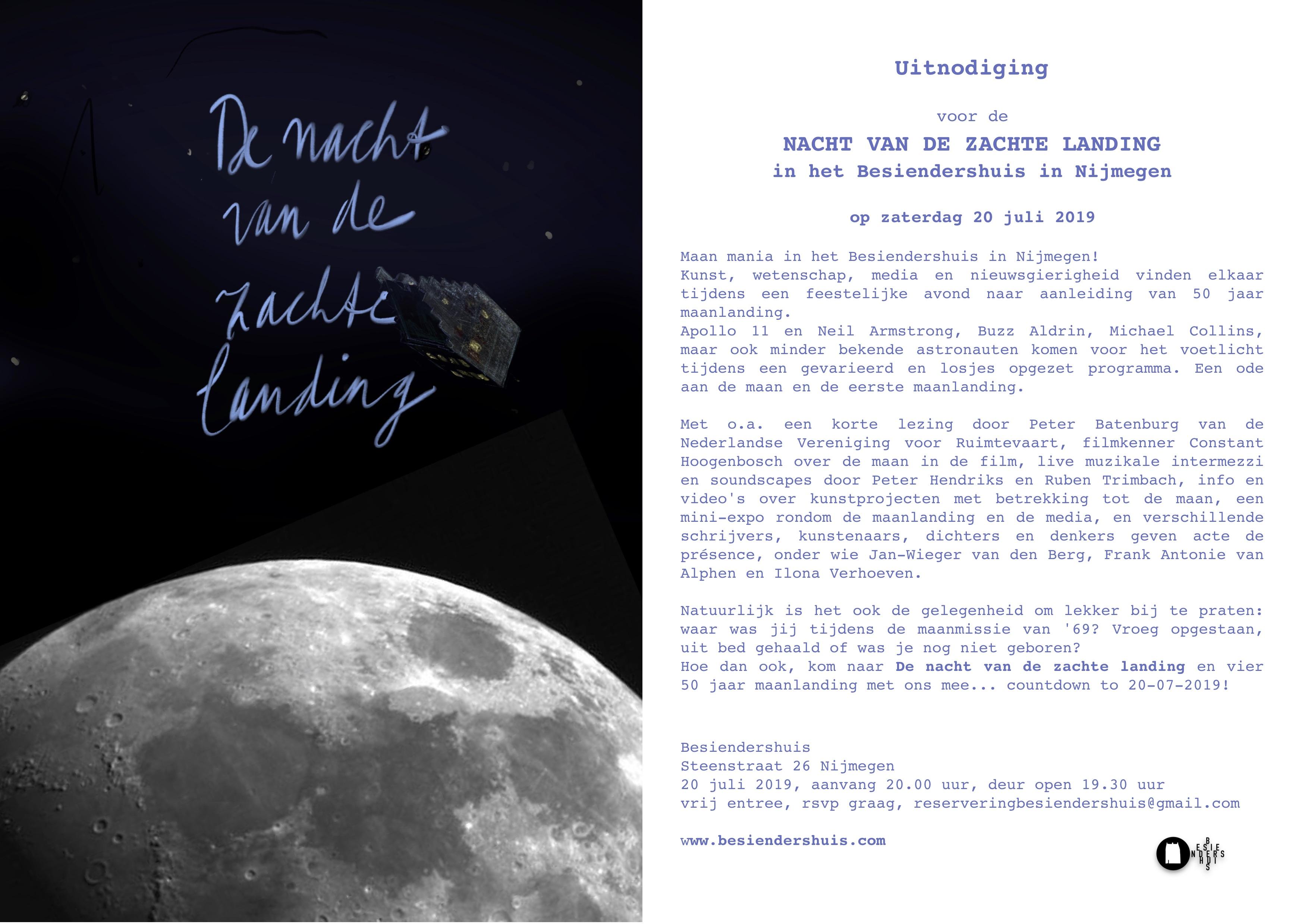 uitnodiging Nacht van de zachte landing Besiendershuis